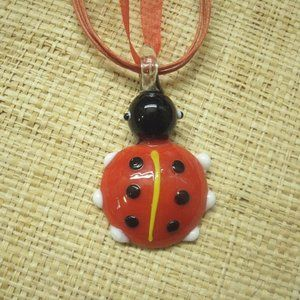 Handmade Glass Lady Bug Necklace